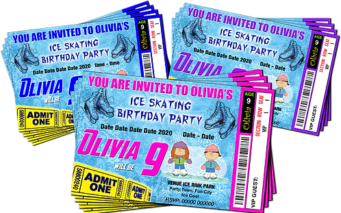 Ice Skating, Birthday Party Invitation. Ticket Style, Blue, Pink or Purple