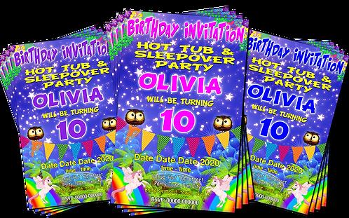 Hot Tub, Sleepover, Unicorns, Birthday Party Invitation. Pink, Purple or Blue