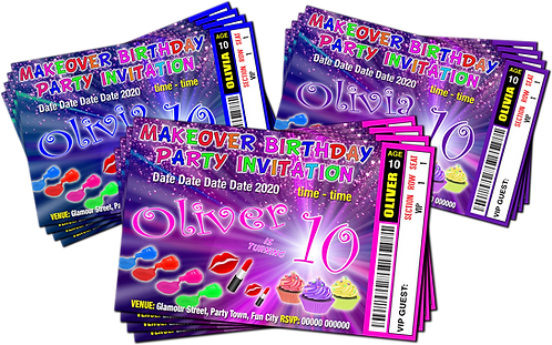 Makeover, Pamper, Birthday Invitation, Ticket Style. Blue, Purple, Pink