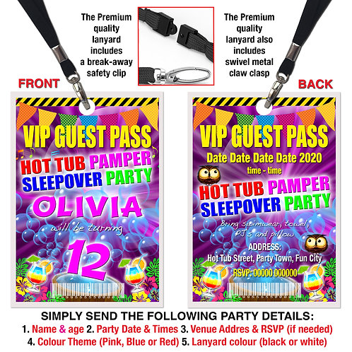 VIP PARTY LANYARD  Hot Tub, Pamper, Sleepover. Pink, Red or Blue