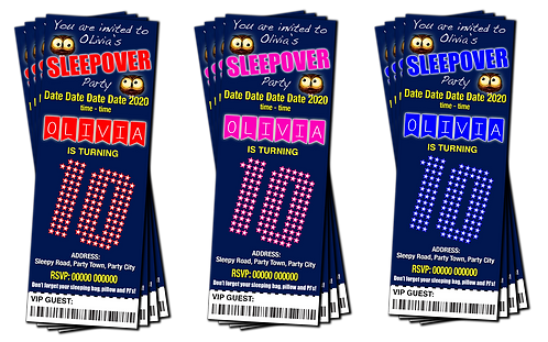 Sleepover, Slumber, Party Invitation. Ticket Style. Blue, Pink or Red
