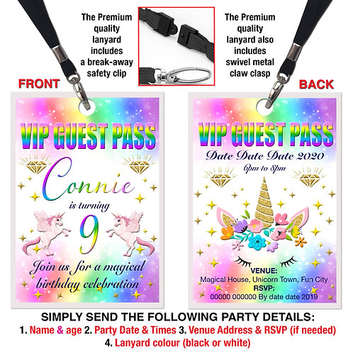 VIP PARTY LANYARD Unicorn, Birthday Invitation, Rainbow Colours