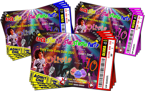 Studio, Rock, Pop, Star, Ticket Style + Picture. Red, Pink or Blue