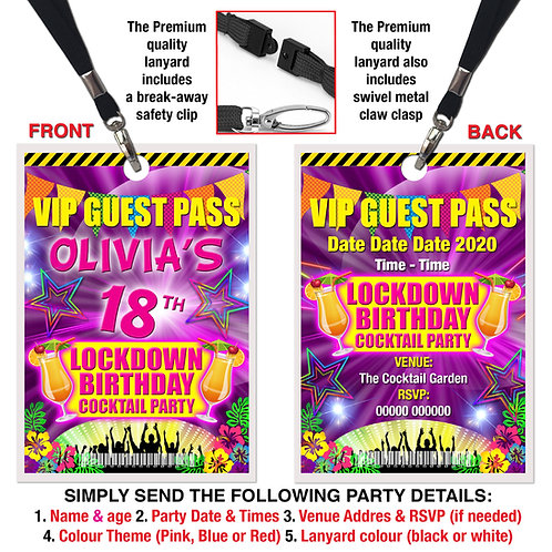 VIP PARTY LANYARD  Cocktails, Lockdown Birthday, Theme. Pink, Red or Blue
