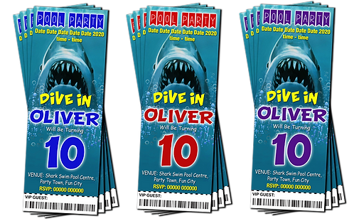 Swimming Pool, Jaws, Party Invitation. Ticket Style. Blue, Red or Purple