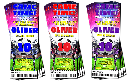 Football, Soccer, Birthday Party Invitation. Ticket Style Red, Purple or Blue