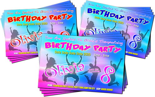Trampoline, Bounce, Birthday Party Invitation. Pink, Red or Blue