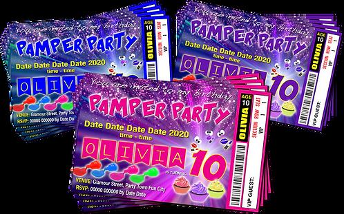 Pamper, Makeover, Birthday Invitation, Ticket Style. Blue, Purple, Pink