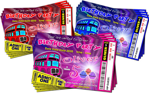 Party Bus Birthday Invitation. Cup Cakes. Ticket Style, Red, Pink or Blue