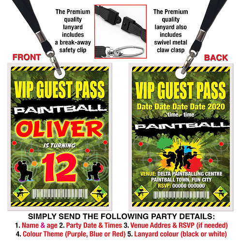 VIP PARTY LANYARD Paintball, Paintballing, Birthday, Purple, Red or Blue