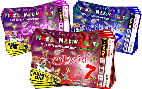 Pizza Making, Birthday Party Invitation, Ticket Style, Blue, Pink or Red