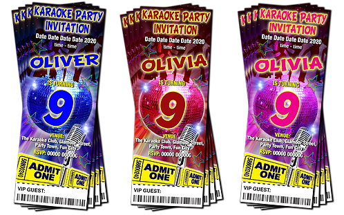 Karaoke, Pop Star, Birthday Party Invitation. Ticket Style, Blue, Pink or Red