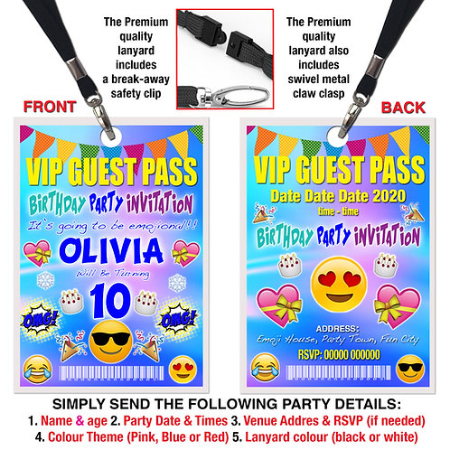 VIP PARTY LANYARD Birthday Emoji Theme. Pink, Red or Blue