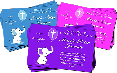 Christening, Baptism, Elephant, Invitation. Pink, Purple or Blue