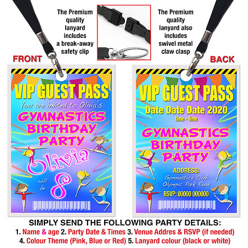 VIP PARTY LANYARD  Gymnastics, Theme. Pink, Red or Blue