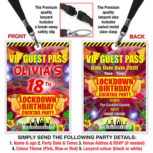 VIP PARTY LANYARD  Cocktails, Lockdown Birthday, Theme. Pink, Red or Blu