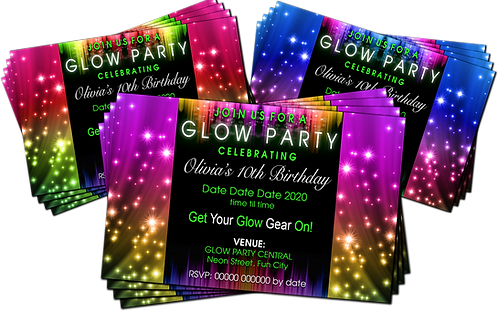 Glow, Neon, Disco, UV,  Birthday Party Invitation. Red, Pink or Blue
