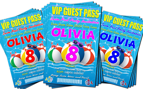 Swimming Pool, Beach Balls, Birthday Party Invitation. Pink, Blue or Red