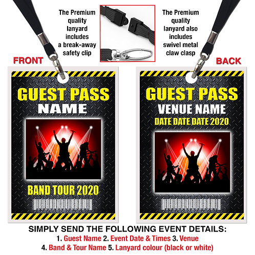 CONCERT EVENT LANYARD PASS Personalised Any Band Event - Gift Ticket Alternative