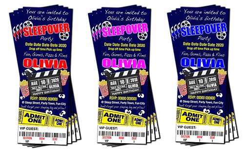 Sleepover, Movie, Cinema, Party Invitation. Ticket Style. Blue, Pink or Red