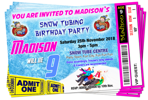 Snow Tubing Party Invitation Birthday Party Pink Blue Ticket Style