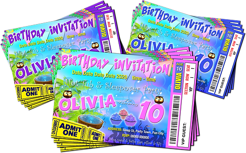 Hot Tub, Sleepover, Party Invitation. Ticket Style, Pastels: Purple, Blue, Pink