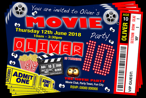 Movie Party Invitation Red Blue Ticket Style Grandwazoodesign