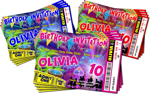 Hot Tub, Birthday Party Invitation. Cup Cakes, Ticket Style, Blue, Pink or Red