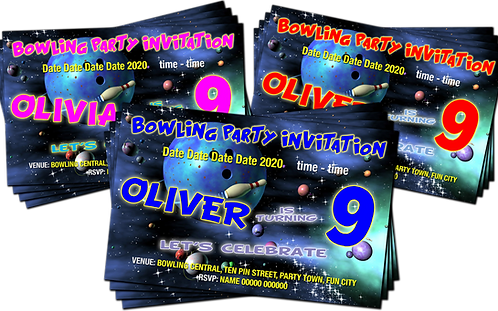 Bowling Party Invitation. Space Theme. Red, Pink or Blue