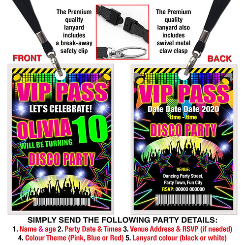 VIP PARTY LANYARD  Disco, Dance, Rave Theme. Pink, Red or Blue