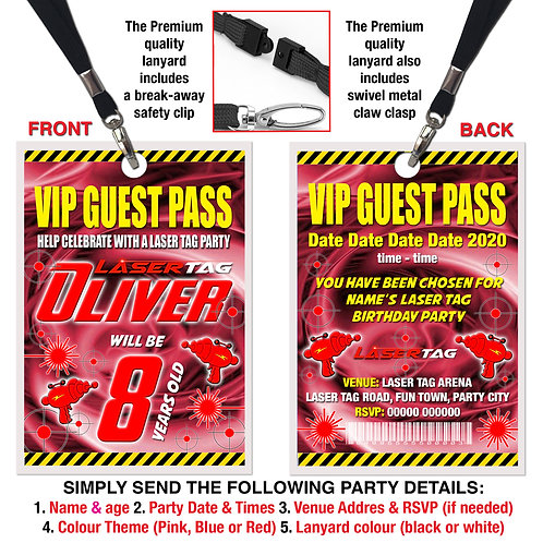VIP PARTY LANYARD Laser Tag, Quest, Zone, Birthday, Pink, Red or Blue