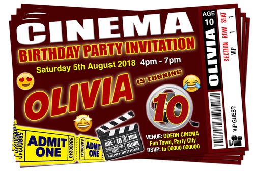 Cinema Movie Party Invitation Brown Emoji Ticket Style