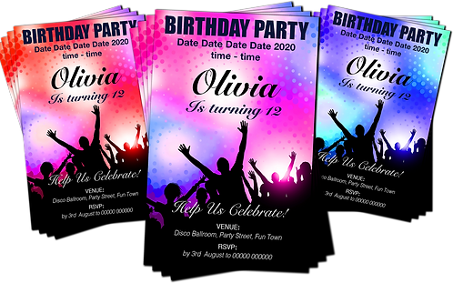 Disco, Dance, Rave, Party Invitation. Red, Pink or Blue