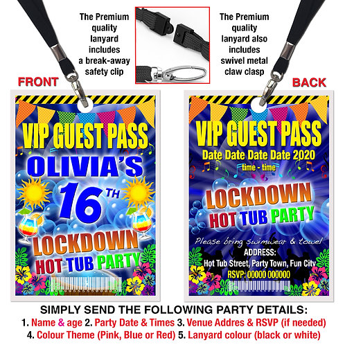 VIP PARTY LANYARD  Hot Tub, Lockdown, Birthday Theme. Pink, Red or Blue