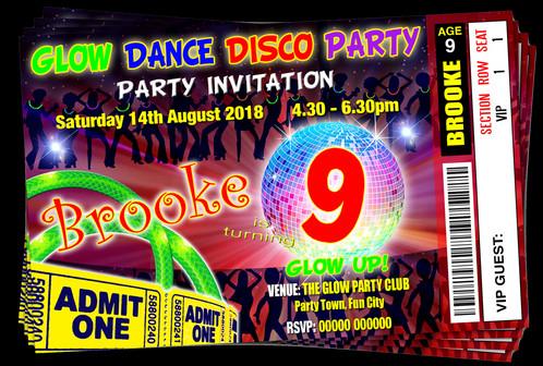 Glow Disco Party Invitation Ticket Style
