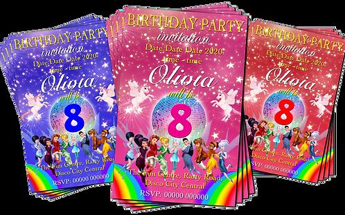 Disco, Fairies, Unicorns, Rainbows, Party Invitation. Red, Pink or Blue
