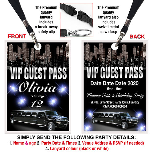 VIP PARTY LANYARD Hummer, Limousine, Birthday, Pink or White