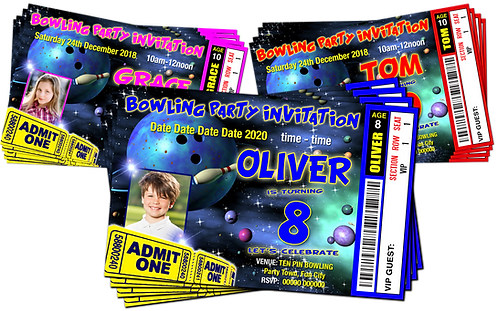 Bowling Party Invitation. Space Theme. Ticket Style + Picture. Red, Pink or Blue