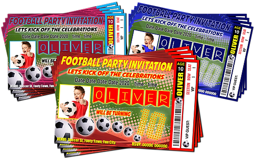 Football, Soccer Party Invitations. Ticket Style + Picture. Red, Blue, Burgundy