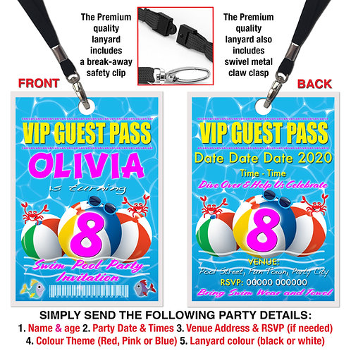VIP PARTY LANYARD Swimming Pool, Birthday Invitation, Pink, Blue or Red