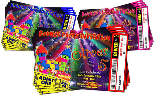 Bouncy Castle Disco Birthday Party Invitation. Ticket Style. Red, Pink or Blue