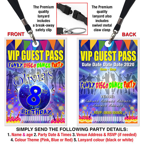 VIP PARTY LANYARD  Funky Disco, Dance, Theme. Pink, Red or Blue