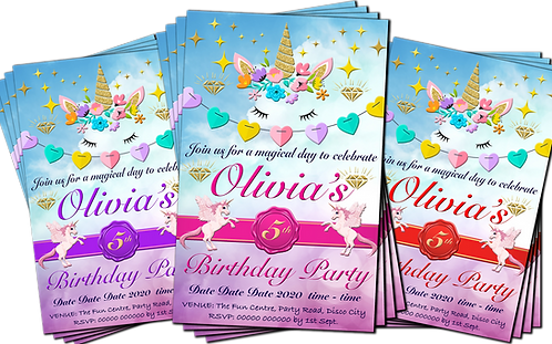 Magical Unicorn, Birthday Party Invitation. Pink, Purple or Red