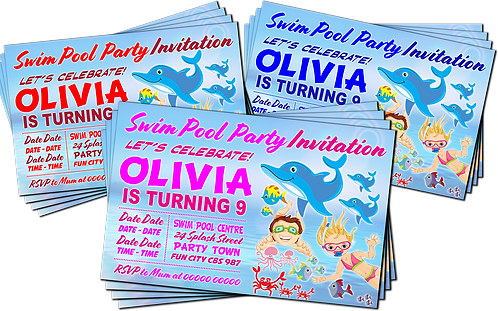 Swimming Pool, Dolphin, Birthday Party Invitation. Pink, Red or Blue