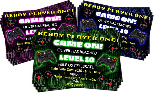 Gamer, Xbox, PS4, Birthday Party Invitation. Green, Pink or Blue