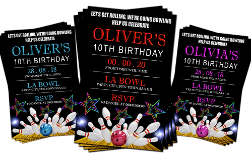 Ten Pin Bowling Party Invitation. Red, Pink or Blue