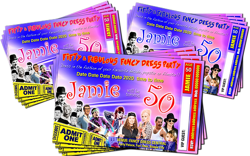 Fancy Dress, Decades, Birthday Party Invitation. Ticket Style Red, Pink or Blue