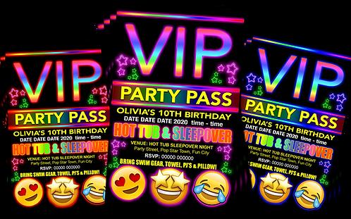 Hot Tub, Sleepover, Birthday Party Invitation. VIP Pass. Emoji. Red, Pink, Blue