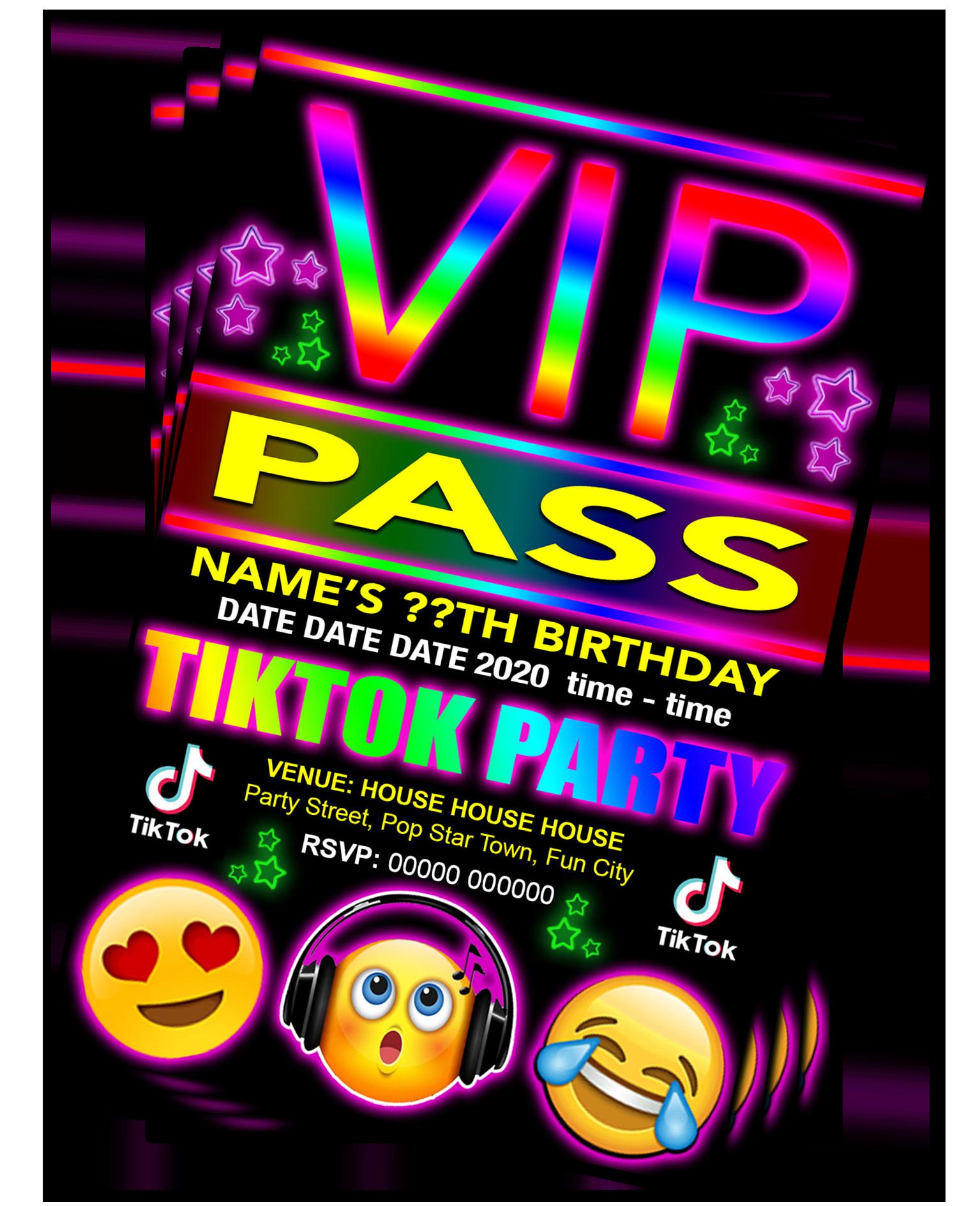 Tiktok Birthday Party Invitation Vip Pass Emoji Red Pink Or Blue Grandwazoodesign