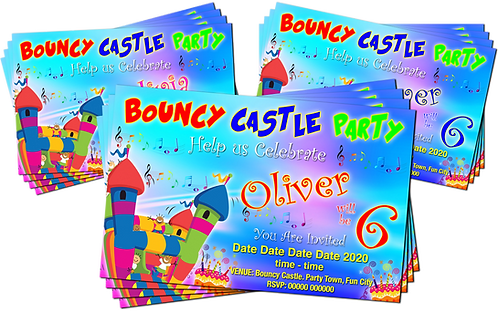 Bouncy Castle Party Birthday Invitation. Red, Pink or Blue